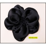 "Flower satin with center beads 4 3/4"" Black"