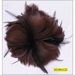 "3 Floral feathered Brooch 3 3/4x2 3/4"" Brown and Black"