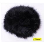 """Fur pom pom with pin 2 3/8"""" Black"""