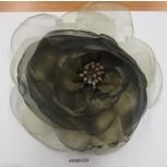 "Flower Brooch w/shiny Organza& beads 6"" Green"