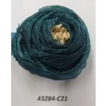 "Flower Brooch w/ivory stamps 2"" Sea blue"