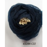 """Flower Brooch w/ivory stamps 2"""" Navy"""