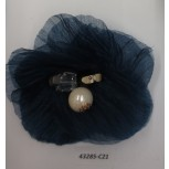 "Flower Brooch w/Beads& Rstones 3"" Navy"