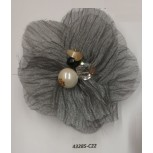 "Flower Brooch w/Beads& Rstones 3"" Grey"