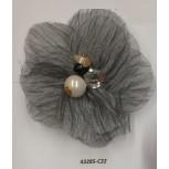 "Flower Brooch w/Beads& Rstones 3"" Grey"