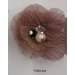 "Flower Brooch w/Beads& Rstones 3"" Pink"