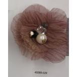 "Flower Brooch w/Beads& Rstones 3"" Pink"