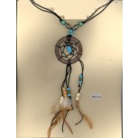 Necklace Coco Ring Corded Stone Pendant W/Beaded C