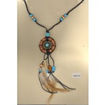 """Necklace W.Ring M.Floral StoneCtr Pendant w/21""""Cor"""