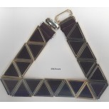 "Belt w/21Big metal Triangular&elastic20 1/2""Go/Blk"