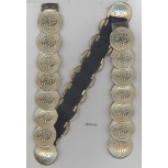 "Belt w/24coin shape metal & elastic26""Gold/Blk"