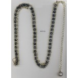 """Belt with big Faceted beads&Hchain 39"""" Blk/Gold"""
