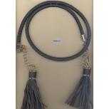 "Belt w/leather cord&2 tassel 41"" Black/Gold"