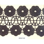 Lace Guipure BS scallop &big flowers4 3/4Black
