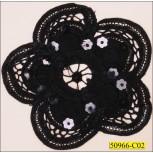 """Sequin Embroided Cotton Flower Applique 4 1/2"""""""