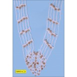 "Applique Beaded Crochet Chainette Pendant 16"" White and Natural"