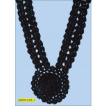 Applique Crochet Neck Collar with Beads 12""