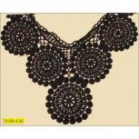 """Collar Applique CottonWith circle &scallopped edge 14 1/2"""" Blk"""
