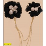 Collar with 2 Black chiffon flower and 3 hanging Gold chain with beads
