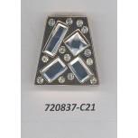 Att Metal Trapezoid shape w/stones ID 1 1/4Clr/Gol