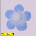 "1 1/2"" Blue Flower with White Pom Pom"