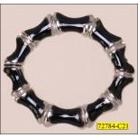 """Ring Scalloped Inner Diameter 1 1/4"""" Silver and Black"""
