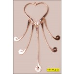 "Heart Metal Ornament with 5 Fringes 1 1/2"" Gold"