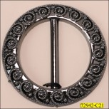 """Buckle Round with Embossed Design inside 1 7/8"""" Gunmetal"""