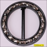 """Buckle Round Plastic with Rectangle Stone Inner Diameter  2"""" Black and Gunmetal"""
