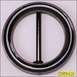 "Buckle Round Plastic Inner Diameter  2"" Shiny Black"