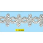 "Rhinestone with Beads Ard 1 Row Hot Fix 1 3/4"" Clear"