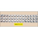 """Beaded Metallic Trim Hot Fix 1 3/8"""" Clear and Silver"""