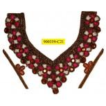 "Collar Beaded Floral V shape Applique 10 1/4"" x 9 3/4"" Multicolor"