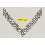 "Collar Applique 'V' shape with 3 rows rhinestones 6 1/2x5 1/4"" Clear"