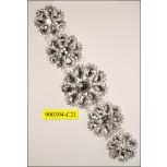 "Rhinestone attachement with flower stones 1 3/4"" Clear"