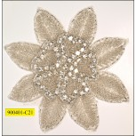 """Applique flower with beads 5"""" Silver and White"""