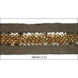 """Beads and floral sequins on mesh 2 1/2"""""""