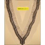 "Collar Applique ""V"" shape multisize beads on mesh"