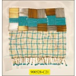 """Beads with hanging beads on White mesh 8"""" Multicolor"""