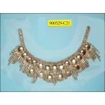 "Collar Applique ""U"" shape multisize metal beads on White mesh 11x4"" Nickel"