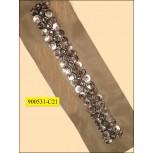 "Beaded lace with rhinestones on Black mesh 3 3/4"" Nickel"