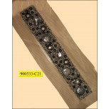 """Multisize beaded lace on Black mesh 4 1/4"""" Silver and Blue"""