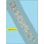 """Multisize beaded lace on White mesh 3 5/8"""" White and Silver"""