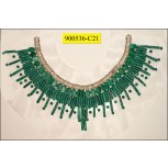 """Collar Applique """"U"""" shape beaded on White mesh 11 3/4x4 5/8"""" Green and Nickel"""
