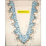 "Collar Applique ""V"" shape beaded with rhinestones on White mesh Blue and Silver"