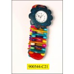Watch with colorful coconut shell and beads Muti Colors