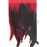 "Fringe feather large mutitone12"" Green/Red"