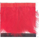 "Fringe feather with red satin tape 6"" Red"