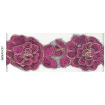 Lace w/double layer flowers&cording2 1/2Fushia/Gol