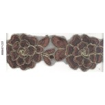 Lace w/double layer flowers&cording2 1/2Brown/Gold